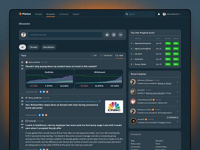 Plotus - social personal finance platform feed social socialmedia fintech app fintech ux ui
