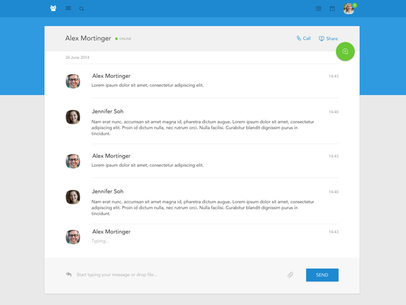 Material Design Chat material design polymer google android chat blue