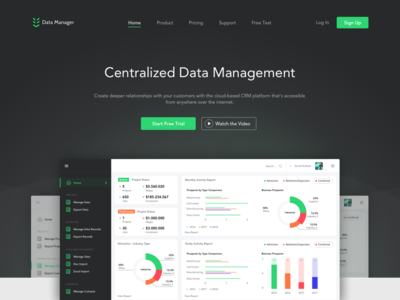 Data Management Tool - Homepage with Dashboard b2b enterprise management interface ui call to action green dark charts landing homepage dashboard