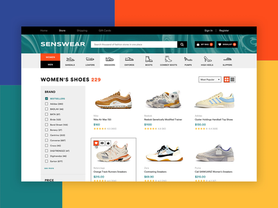 Product Page for Online Sneaker Store web app shop application marketplace sneakers store landing page product list category page online store ecommerce