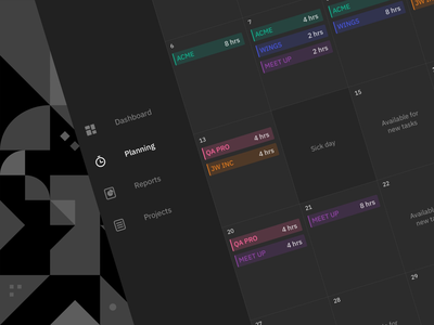 COAX Stream Time Tracking App That Syncs Projects and Tasks task app projects management interface ux ui project management tool dark mode schedule meeting planning dashboad calendar timetracking app timetracking