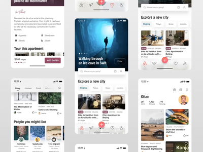 Redesign for airbnb ios13 flat user interface user experience iphone ios timeline airbnb interface travel trip