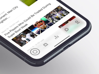 Toolbar's Interactions app soccer football live stats data socal profile icon toolbar motion gif interface ios11 iphone suning interactions user experience user interface flat design