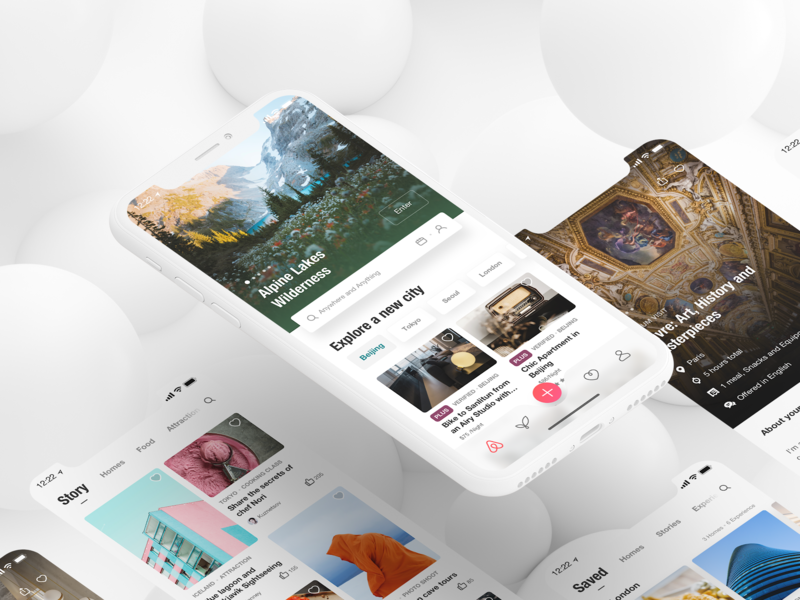 Redesign for airbnb trip travel interface ios11 airbnb timeline ios iphone user experience user interface flat