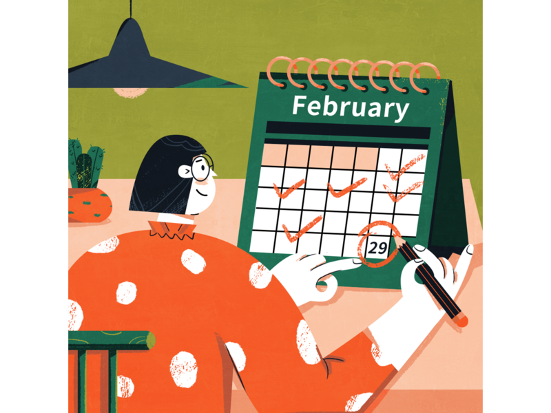 Leap year! february plant light pencil vector character girl illustration