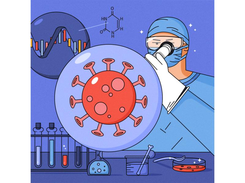Coronavirus. microscope research beaker test tube biological laboratory vector illustrator draw character