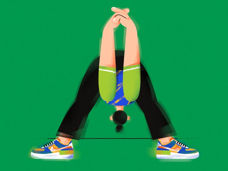 M. ( Yoga girl ) nike shoes design sports vector character girl illustration