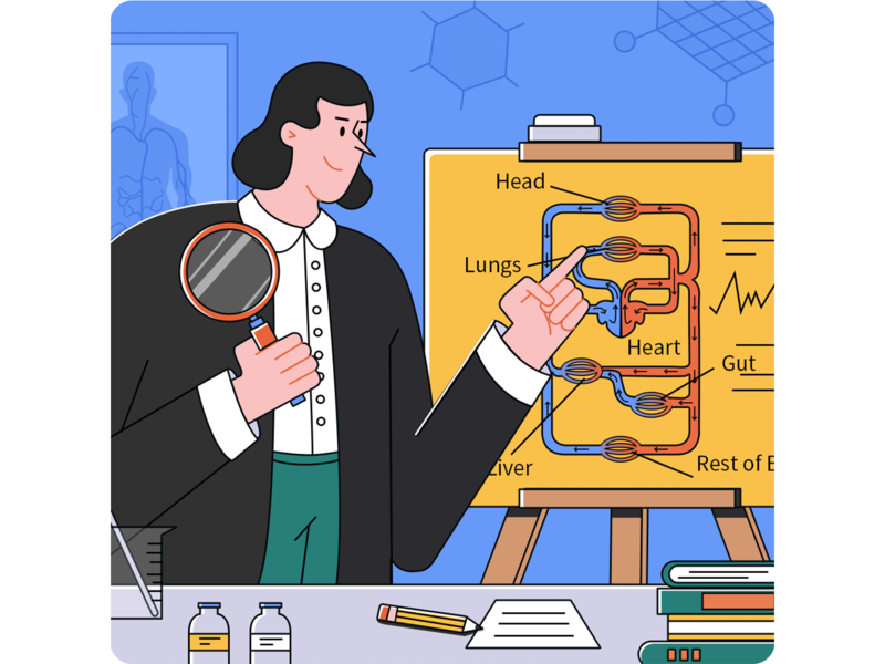 Found blood circulation! characterdesign illustrator vector easel blood circulation magnifier beaker experiment character draw design illustration