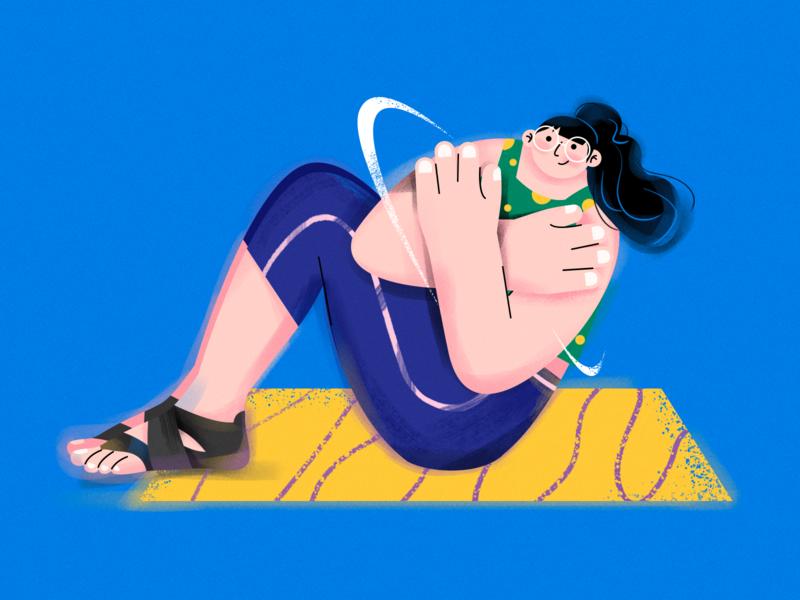N.( Yoga girl ) exercise yoga yoga pose girl illustrator sports vector character draw design illustration