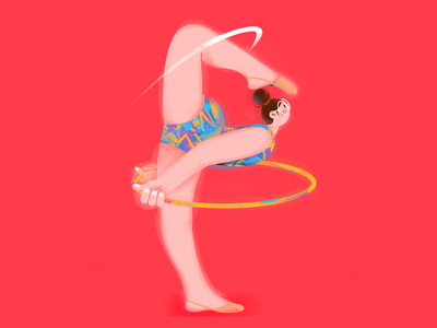 P.(Gymnastic girl) yoga vector illustration sports hula hoop vector character girl draw illustration