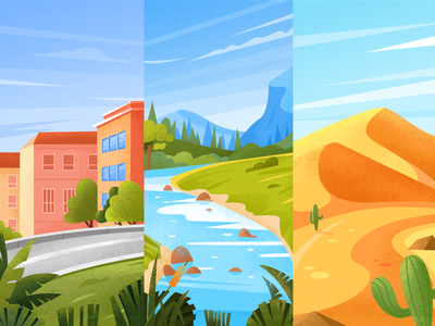 Travel illustration townhouse town forest desert creek landscape illustration