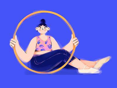 Q.(Hula Hoop girl) illustrator sports character vector girl illustration