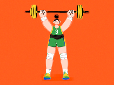 T.(Weightlifting girl) shoes illustrator sports character vector girl design draw illustration