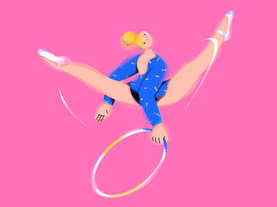 W.(Gymnastic girl) illustration sports character girl design draw graphic design