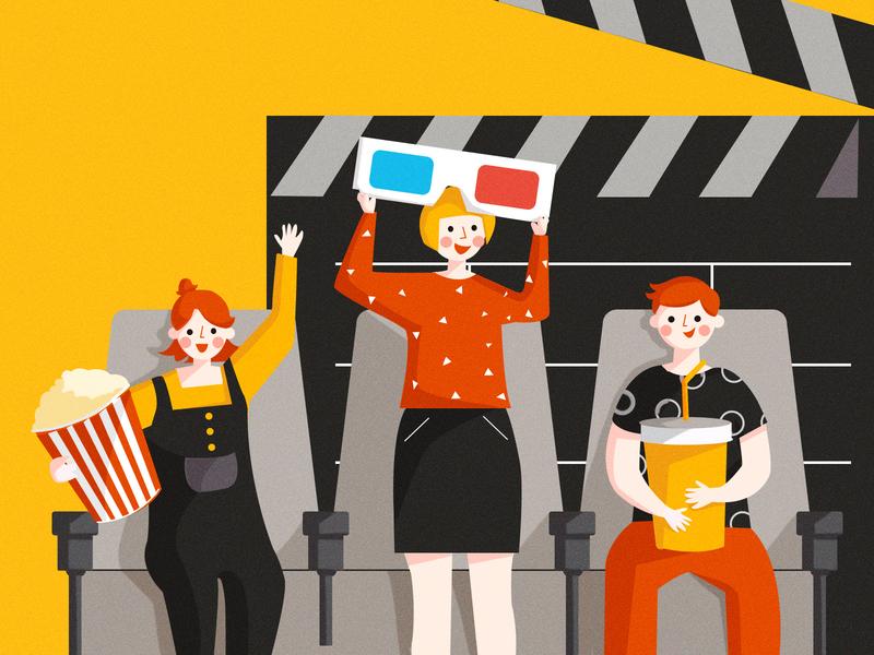 Watching a movie together! popcorn branding draw app website illustration design movie art movie