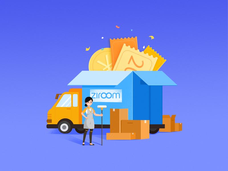 Service coupon ! gold ziroom box draw illustration design cleaning service coupon truck cleaning