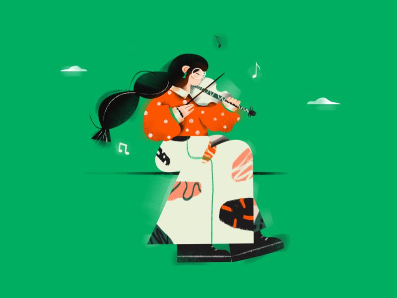 Violin girl ! girl musical instrument violin draw illustration design