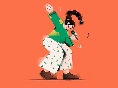 Singing girl microphone draw singing girl illustration design