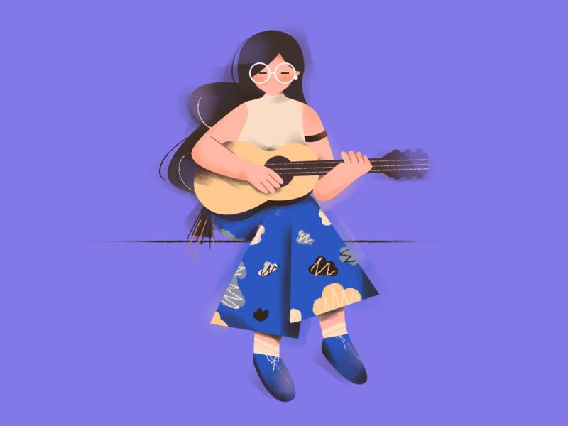 Guitar girl! music girl guitar illustration design
