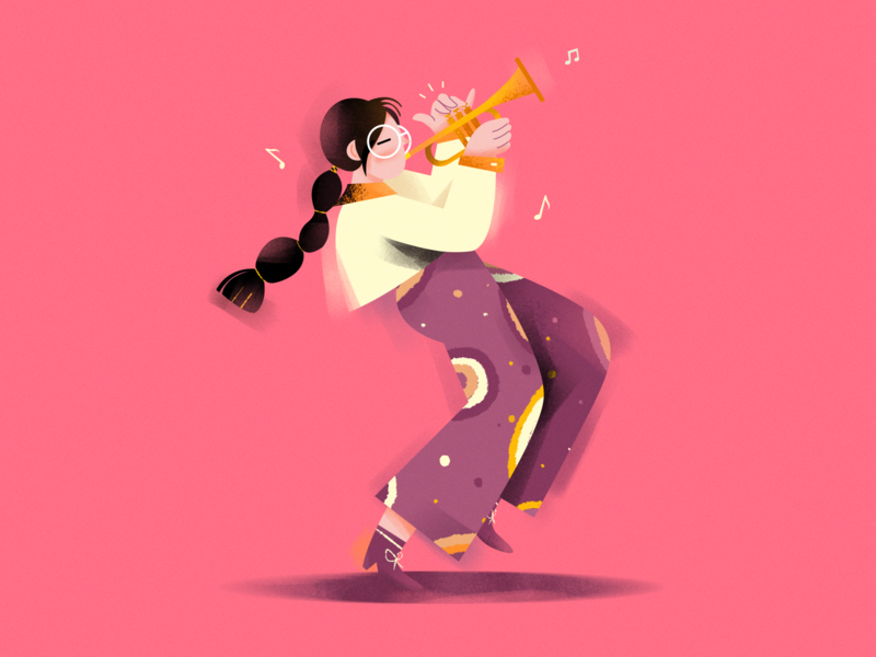 Trumpet girl ! girl character music trumpet illustration