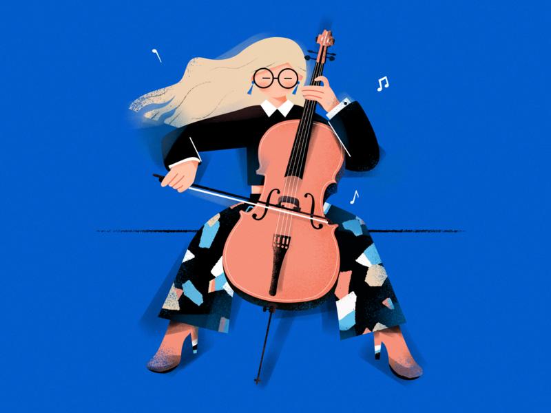 Cello Player ! graphic cello player musical instrument cello girl music draw design illustration