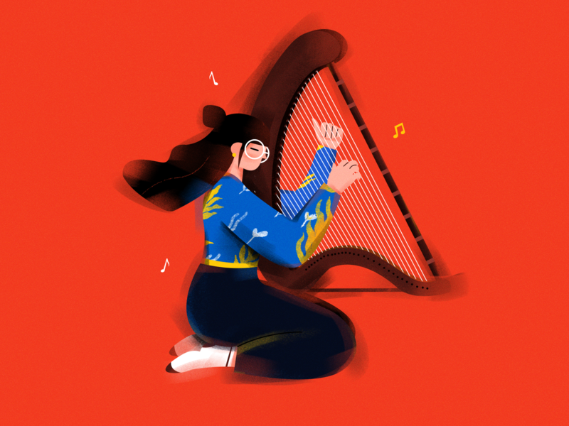 KongHou. Chinese national musical instrument. draw illustration girl music charachter chinese national musical instrument