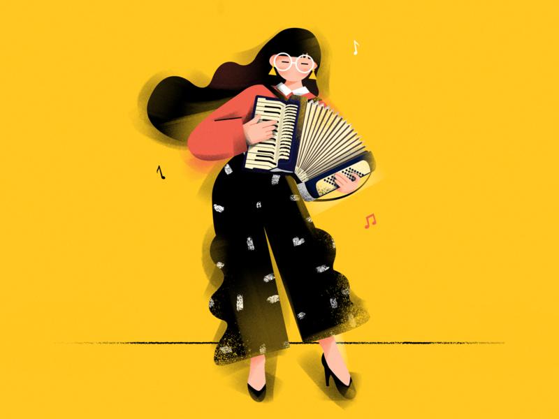 Accordion girl ! design music characer accordion girl draw illustration