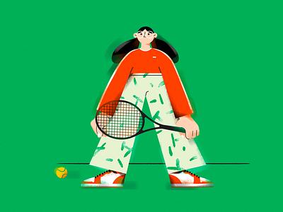 A. (Tennis girl) sports shoes tennis ball vector design girl character illustrator sports tennis girl