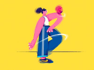 B. (Basketball girl) design characterdesign character sports ball dribbble vector basketball girl draw illustration