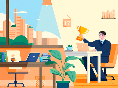 Enjoy Hard Work! illustration vector draw work guy light building city trash can computer chair books plant folder computer calendar trophy