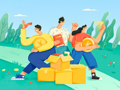 Move! coin gold invite phone guys bags money draw branding vector illustration design girl book move