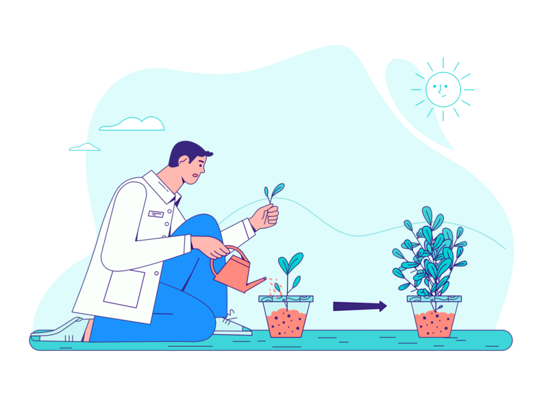 Photosynthesis! doctors plants sunny character vector draw illustration