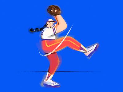 F.(Baseball girl) baseball cap glasses sports gloves shoes baseball vector girl draw illustration