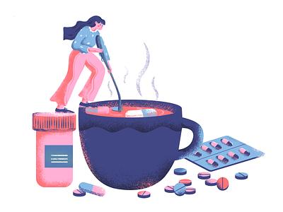 Making pills! mix girl capsule medicine illustration