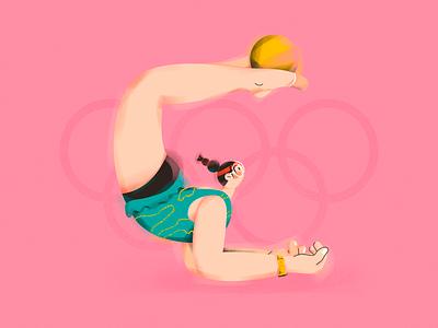 G.(Gymnastic girl!) illustration character dress skirt girl glasses ball gumnastic sports