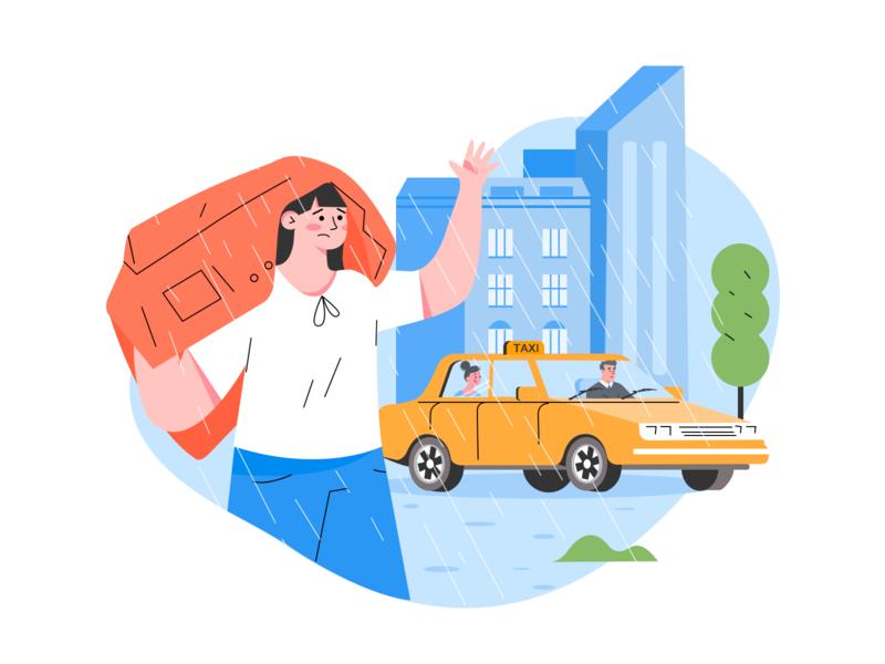 Taking a taxi illustration driver clothes character sad rain taxi illustration