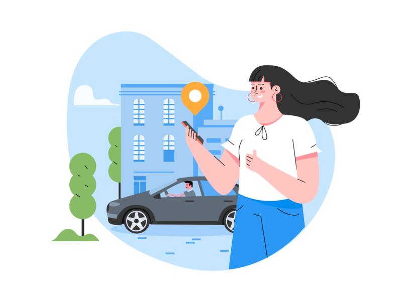 Taking a taxi illustration mobile phone coordinate building taxi character vector girl illustration