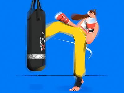 H.(Boxing girl) sports character vector girl design illustration