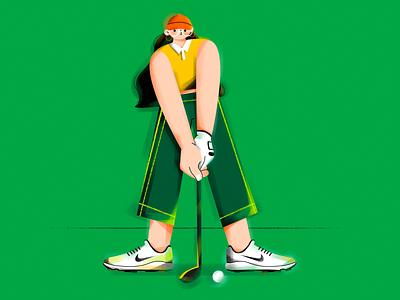 I.(Golf girl) glasses vectorart vectors shoes sports graphic golf character vector girl draw illustration