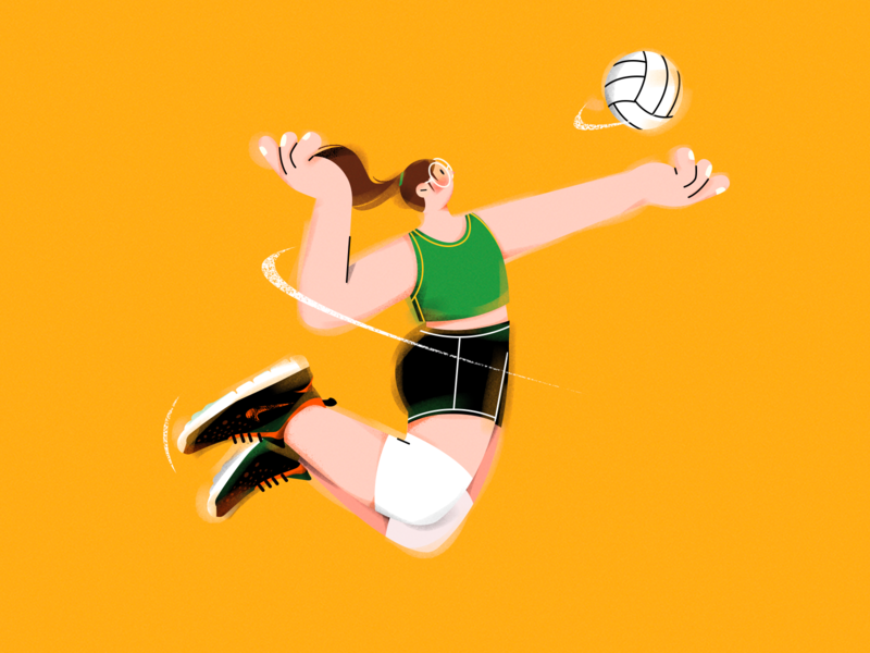 J.(Volleyball girl) vector art shoes volleyball sports vector character girl illustration