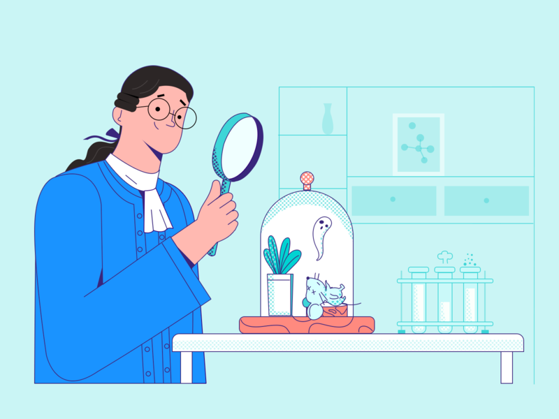 Photosynthesis! professor mouse plant test tube magnifier experiment vector character draw design illustration