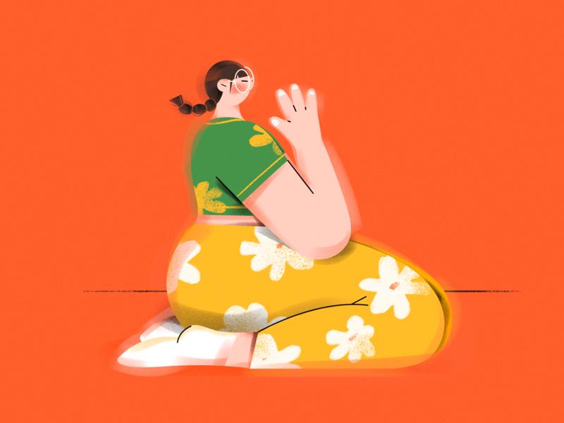 L. ( Yoga girl ) letter yoga pose yoga sports vector character girl draw design illustration