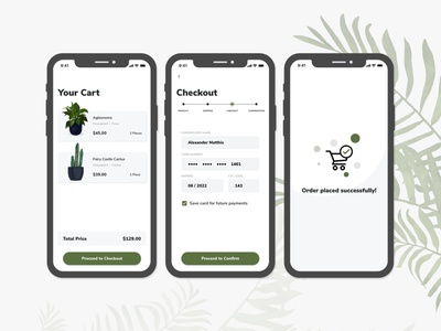 Plant App Checkout checkout green wireframe uxui adobe xd 002 dailyui 002 dailyui plants shopping app ecommerce clean