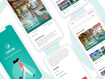 Retrip - Booking App Concept design mobile design mobile booking app booking wireframe uxui clean dailyui adobe xd