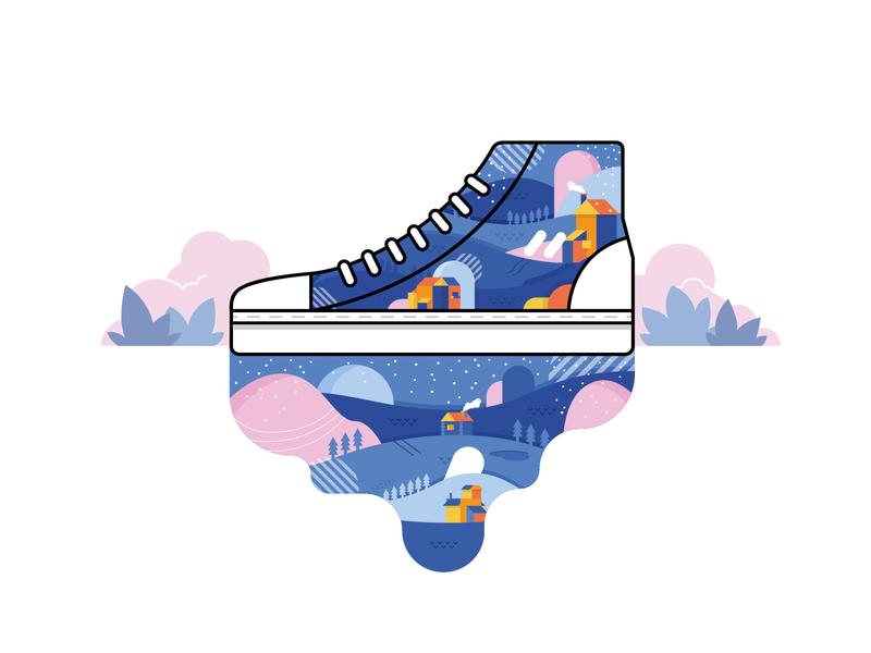SKI8-Hi Winter sneaker shoes design vector illustration
