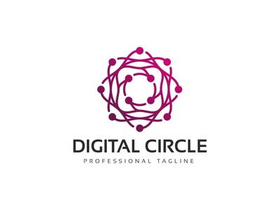 Digital Circle Logo professional print ready print pixel new year new logo it illustrator green digital design creative company colorful circles circle branding brand agency