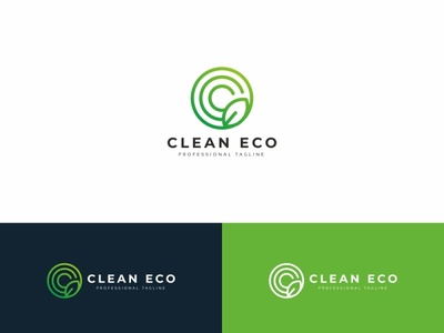 Clean Eco C Letter Logo water spa nature medical liquid life leaves leaf health green foil eco drop clean c letter c