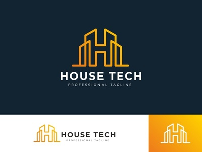 House Tech H Letter Logo mobile medical letter jewel industrial housing hotel hospital hitech high tech high h gem fitness fashion digital construction app agency