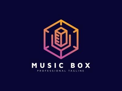 Music Box Logo yellow symbol straw songs player logo play online songs online song station objects object music logo music media logo media entertainment logo cube buttons button box 3d