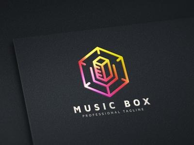 Music Box Logo objects object music logo music media logo media entertainment logo cube buttons button box 3d logo business brand colorful modern corporate creative branding